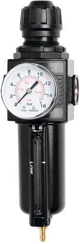 Luchtbehandelingsset 1/4 incl. manometer, vochtafscheider en filter
